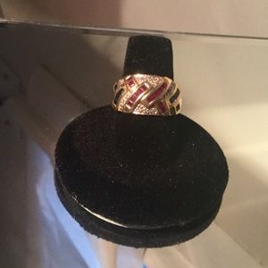 Jewelry - 14kt Gold Ring Size 7-Diamond, Ruby, Emerald